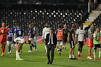30th July 2020; Craven Cottage, London, England; English Championship Football Playoff Semi Final Second Leg, Fulham versus Cardiff City; Fulham Manager Scott Parker appears unimpressed of his sides performance as they make the playoff finals