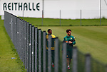 Cameroon's forward Samuel Eto'o (R) trains with a staff member during a training session in Walchsee, Austria on May 28, 2014 ahead of a friendly football match against Germany, on June 1 in preparation for the FIFA World Cup Brazil 2014. <br /> &copy; Pierre Teyssot