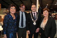 NO FEE PICTURES.25/1/13 Maureen Ledwith, Director Holiday World, Lord Mayor of Dublin is Naoise Ó Muirí and Clare Dunne, President ITAA with Alfredo Deliguori at the Holiday World Show at the RDS, Dublin. Picture:Arthur Carron/Collins