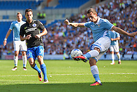 Anthony Knockaert of Brighton & Hove Albion (left) closing down the Lazio attack during the Friendly match between Brighton and Hove Albion and Lazio at the American Express Community Stadium, Brighton and Hove, England on 31 July 2016. Photo by Edward Thomas / PRiME Media Images.