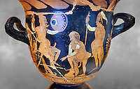 Erotic attica style krater with red figures made in Saticula; present day Sant'Agata de' Goti produczione capuana; attributed to Painter Parrish around 350 B.C, inv 81926,  Secret Museum or Secret Cabinet, Naples National Archaeological Museum , grey art background