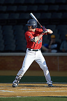 Tre Todd (20) of the Liberty Flames at bat against the Wake Forest Demon Deacons at David F. Couch Ballpark on April 25, 2018 in  Winston-Salem, North Carolina.  The Demon Deacons defeated the Flames 8-7.  (Brian Westerholt/Four Seam Images)