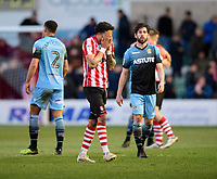 Lincoln City's Bruno Andrade reacts at the end of the game<br /> <br /> Photographer Chris Vaughan/CameraSport<br /> <br /> The EFL Sky Bet League Two - Lincoln City v Stevenage - Saturday 16th February 2019 - Sincil Bank - Lincoln<br /> <br /> World Copyright © 2019 CameraSport. All rights reserved. 43 Linden Ave. Countesthorpe. Leicester. England. LE8 5PG - Tel: +44 (0) 116 277 4147 - admin@camerasport.com - www.camerasport.com