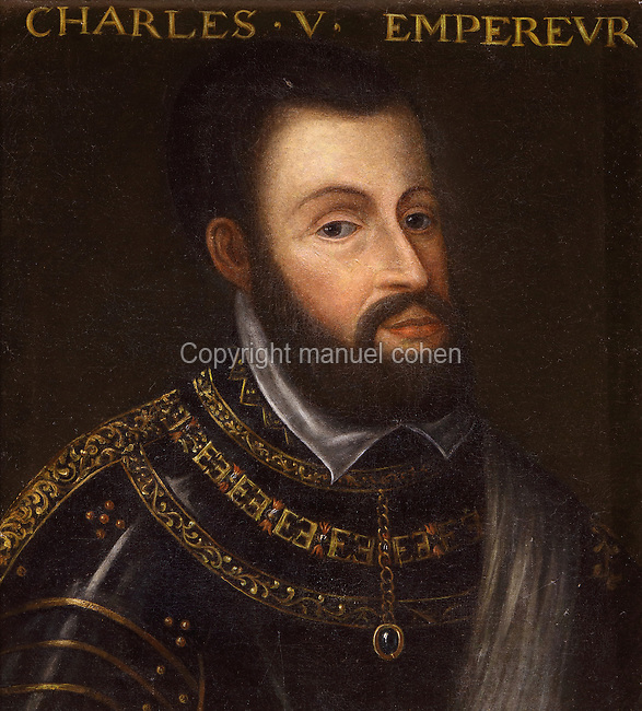 Portrait of Charles V, Holy Roman Emperor, 1500-58, in the Galerie des Illustres or Gallery of Portraits, early 17th century, in the Chateau de Beauregard, a Renaissance chateau in the Loire Valley, built c. 1545 under Jean du Thiers and further developed after 1617 by Paul Ardier, Comptroller of Wars and Treasurer, in Cellettes, Loir-et-Cher, Centre, France. The Gallery of Portraits is a 26m long room with lapis lazuli ceiling, Delftware tiled floor and decorated with 327 portraits of important European figures living 1328-1643, in the times of Henri III, Henri IV and Louis XIII. The chateau is listed as a historic monument. Picture by Manuel Cohen