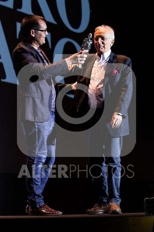 The director of the festival, Angel Sala give the Maria Honorifico Award to Ruggero Deodato at Festival de Cine Fantastico de Sitges in Barcelona. October 11, Spain. 2016. (ALTERPHOTOS/BorjaB.Hojas)