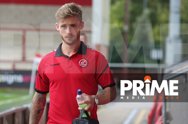 Conor McAleny of Fleetwood Town arrives ahead of the Sky Bet League 1 match between Fleetwood Town and Rochdale at Highbury Stadium, Fleetwood, England on 18 August 2018. Photo by Stephen Gaunt / PRiME Media Images.