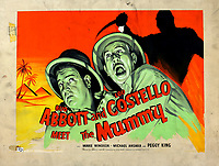 BNPS.co.uk (01202 558833)<br /> Pic: Ewbanks/BNPS<br /> <br /> Abbot and Costello meet the Mummy - Est £120.<br /> <br /> Original Artists...<br /> <br /> Unique hand-painted artwork for classic movie posters from the halcyon days of the silver screen have been uncovered.<br /> <br /> The 150 designs were produced by W. E. Berry Ltd of Bradford, West Yorks, who were industry leaders in poster design for more than 75 years.<br /> <br /> Included in the sale are posters advertising British classic movies like Carve Her Name With Pride, The Titfield Thunderbolt and The Ladykillers.<br /> <br /> They belong to the family of William Edward Berry but they have now made them available for sale for the first time. The are expected to sell for £10,000.