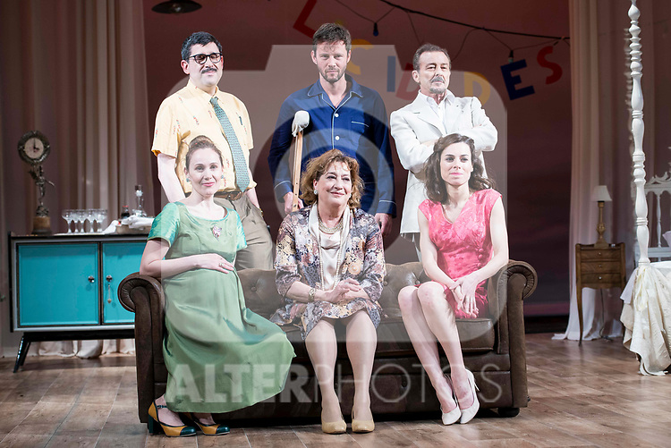 "Jose Luis Patiño, Eloy Azorin, Juan Diego, Marta Molina, Ana Marzoa and Begoña Maestre during theater play of ""Una gata sobre un tejado de Cinc caliente"" at Reina Victoria theater in Madrid, Spain. March 15, 2017. (ALTERPHOTOS/BorjaB.Hojas)"