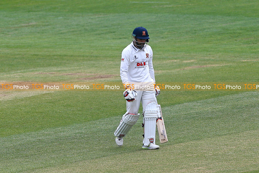Ravi Bopara of Essex leaves the field having been dismissed for 4 during Essex CCC vs Lancashire CCC, Specsavers County Championship Division 1 Cricket at The Cloudfm County Ground on 10th April 2017