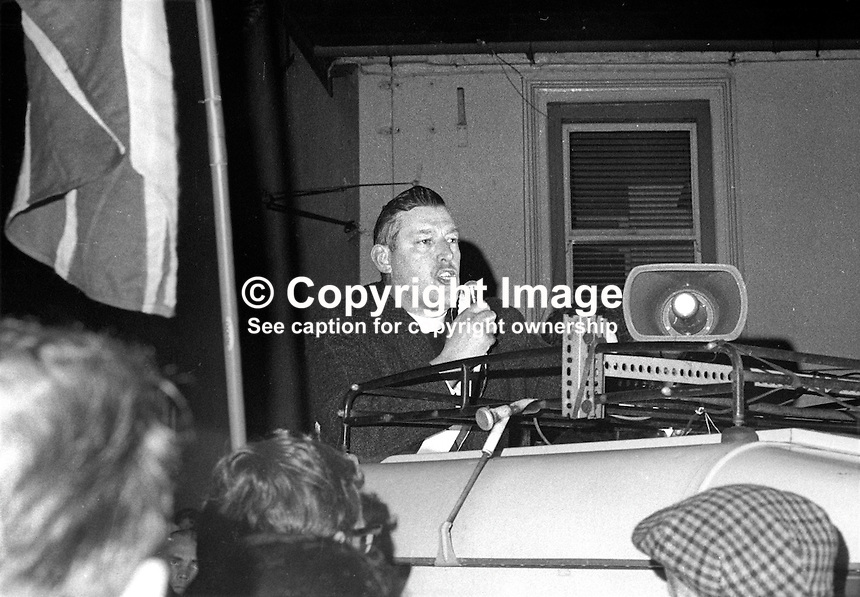 Rev Ian Paisley speaking following his success in the Bannside by-election on 16th April 1970 caused by Terence O'Neill's elevation to the peerage and his resignation as Northern Ireland's prime minister. The count took place in the Town Hall, Ballymena, Co Antrim. 197004160113x<br />