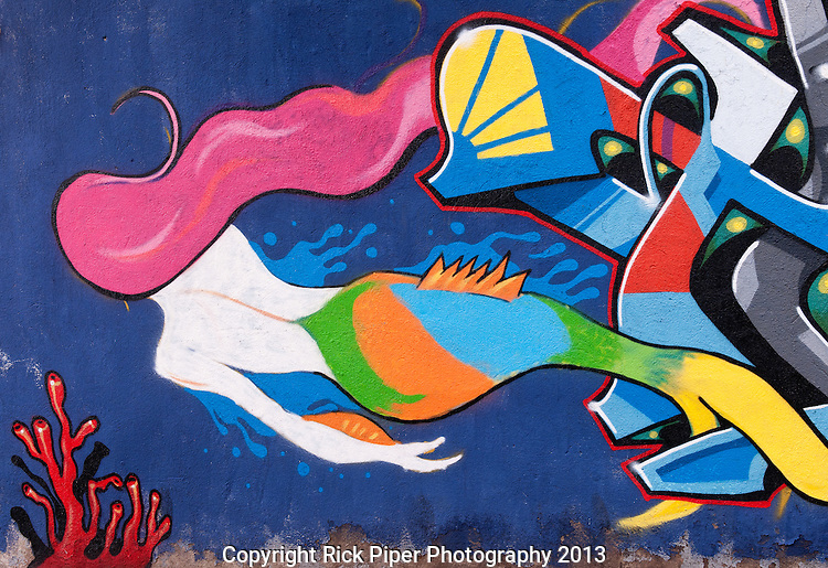 Mermaid - Wall mural in the backstreets of Beyoglu, Istanbul, Turkey