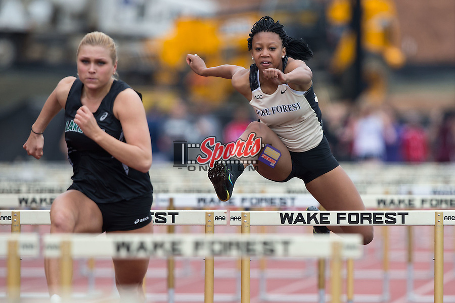 Montasia Golden of the Wake Forest Demon Deacons competes in the women's 100 meter hurdles at the Wake Forest Open on March 20, 2015 in Winston-Salem, North Carolina.  (Brian Westerholt/Sports On Film)