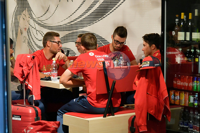 Bahrain-Merida team at Aeroporto di Caselle Turin to transfer to Rome after Stage 20 of the 2018 Giro d'Italia,  Italy. 26th May 2018.<br /> Picture: LaPresse/Marco Alpozzi   Cyclefile<br /> <br /> <br /> All photos usage must carry mandatory copyright credit (© Cyclefile   LaPresse/Marco Alpozzi)
