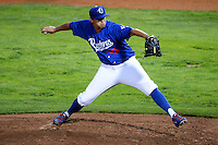 Ogden Raptors starting pitcher Jose De Leon (35) delivers a pitch to the plate against the Orem Owlz in Pioneer League play at Lindquist Field on August 28, 2013 in Ogden Utah.  (Stephen Smith/Four Seam Images)