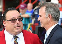 """Sam """"The Bugler"""" Grossman calls the horses to the post for the final time and retires after 25 years as NYRA's bugler on closing day on September 03, 2018 at the Saratoga Race Course in Saratoga Springs, New York.  A ceremony after the fifth race involving NYRA President Chris Kay and Sam's twin brother, Irv, highlights the day.  (Bob Mayberger/Eclipse Sportswire)"""