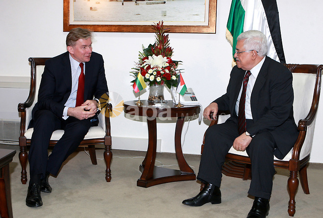 Palestinian President Mahmoud Abbas, meet with Lithuanian Foreign Minister Audronius Aubalis, in the West bank City of Ramallah, on Mar. 05, 2012.  Photo by Thaer Ganaim