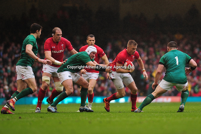Pictured: Gareth Anscombe of Wales in action during the Guinness six nations match between Wales and Ireland at the Principality Stadium, Cardiff, Wales, UK.<br /> Saturday 16 March 2019