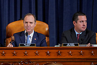 United States Representative Adam Schiff (Democrat of California), Chairman, US House Permanent Select Committee on Intelligence uses his gavel next to United States Representative Devin Nunes (Republican of California), Ranking Member, US House Permanent Select Committee on Intelligence during a House Intelligence Committee hearing featuring the testimony of Marie Yovanovitch, former U.S. ambassador to Ukraine, as part of the impeachment inquiry into U.S. President Donald Trump on Capitol Hill in Washington, U.S., November 15, 2019.<br /> Credit: Joshua Roberts / Pool via CNP/AdMedia