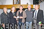 Sean McCarthy Festival : Wayne Brennan from Offally being presented with the Bob Stricks memorial cup as winner of the Sean McCarthy Ballad competition in Teach Siamsa in Finuge on Saturday night last. L- R: Sue Nilsson, sponsor, Carol Stricks, Wayne Brennan, Finbar O'Reilly, runner up & Mike Nilsson, sponsor.