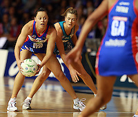 20.03.2010 Mystics Larrissa Willcox in action during the ANZ Champs Netball match between the Mystics and Thunderbirds at Trusts Stadium in Auckland. Mandatory Photo Credit ©Michael Bradley.