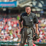 23 August 2015: MLB Umpire Rob Drake works home plate during a game between the Milwaukee Brewers and the Washington Nationals at Nationals Park in Washington, DC. The Nationals defeated the Brewers 9-5 in the third game of their 3-game weekend series. Mandatory Credit: Ed Wolfstein Photo *** RAW (NEF) Image File Available ***