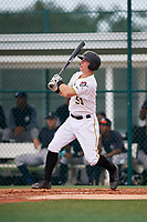 GCL Pirates third baseman Patrick Dorrian (50) hits a double during the second game of a doubleheader against the GCL Yankees East on July 31, 2018 at Pirate City Complex in Bradenton, Florida.  GCL Pirates defeated GCL Yankees East 12-4.  (Mike Janes/Four Seam Images)