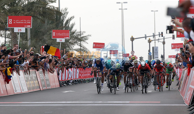 Marcel Kittel (GER) Quick-Step Floors comes around Caleb Ewan (AUS) Orica-Scott to win Stage 2 the Nation Towers Stage of the 2017 Abu Dhabi Tour, running 153km around the city of Abu Dhabi, Abu Dhabi. 24th February 2017<br />