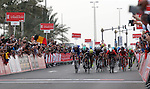 Marcel Kittel (GER) Quick-Step Floors comes around Caleb Ewan (AUS) Orica-Scott to win Stage 2 the Nation Towers Stage of the 2017 Abu Dhabi Tour, running 153km around the city of Abu Dhabi, Abu Dhabi. 24th February 2017<br /> Picture: ANSA/Matteo Bazzi | Newsfile<br /> <br /> <br /> All photos usage must carry mandatory copyright credit (&copy; Newsfile | ANSA)