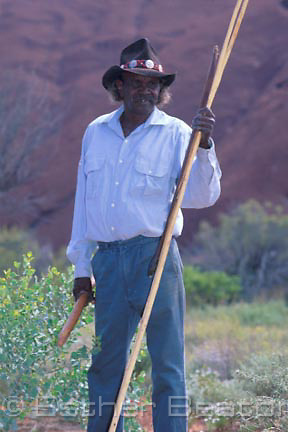 Portrait of  Cassidy Uluru, whose father was Paddy Uluru, one of the owners and guides at Ayers Rock. Uluru NP. NT.