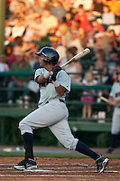 April 9th 2010:  Martin Maldonado of the Brevard County Manatees hits in the game against the Daytona Cubs at Jackie Robinson Ballpark in Daytona Beach, FL (Photo By Scott Jontes/Four Seam Images)