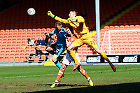 Blackpool's Joe Lumley punches clear under pressure from Fleetwood Town's Paddy Madden<br /> <br /> Photographer Richard Martin-Roberts/CameraSport<br /> <br /> The EFL Sky Bet League One - Blackpool v Fleetwood Town - Saturday 14th April 2018 - Bloomfield Road - Blackpool<br /> <br /> World Copyright &not;&copy; 2018 CameraSport. All rights reserved. 43 Linden Ave. Countesthorpe. Leicester. England. LE8 5PG - Tel: +44 (0) 116 277 4147 - admin@camerasport.com - www.camerasport.com
