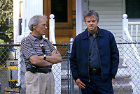 Mystic River (2003)<br /> Behind the scenes photo of Clint Eastwood &amp; Tim Robbins<br /> *Filmstill - Editorial Use Only*<br /> CAP/KFS<br /> Image supplied by Capital Pictures