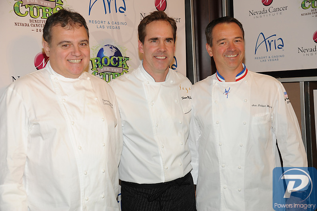 Chefs, Bernard Ibarra, Shawn Mcclain, and Jean-Philippe Maury at the Rock the Cure event benefiting the Nevada Cancer Institute  inside Aria Resort and Casino, Las Vegas, NV, November 11, 2010 © Al Powers / Vegas Magazine