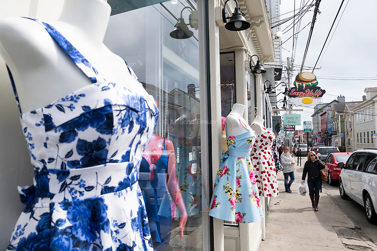Clothing is displayed outside the clothing store Diva on Thames Street in Newport, Rhode Island, on Wed., April 19, 2017.