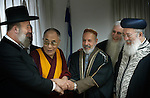 Tibetan Spiritual leader and Peace Nobel Prize winner Dalai Lama (2L) with Israeli Chief Rabbi Yonah Metzger (L), a Muslim cleric (3R), Rabbi Menahem Fruman (2R) and Israeli Chief Rabbi Shlomo Ammar (R), on a visit in Israel.<br /> February 19th, 2006 (Photo by Ahikam Seri).