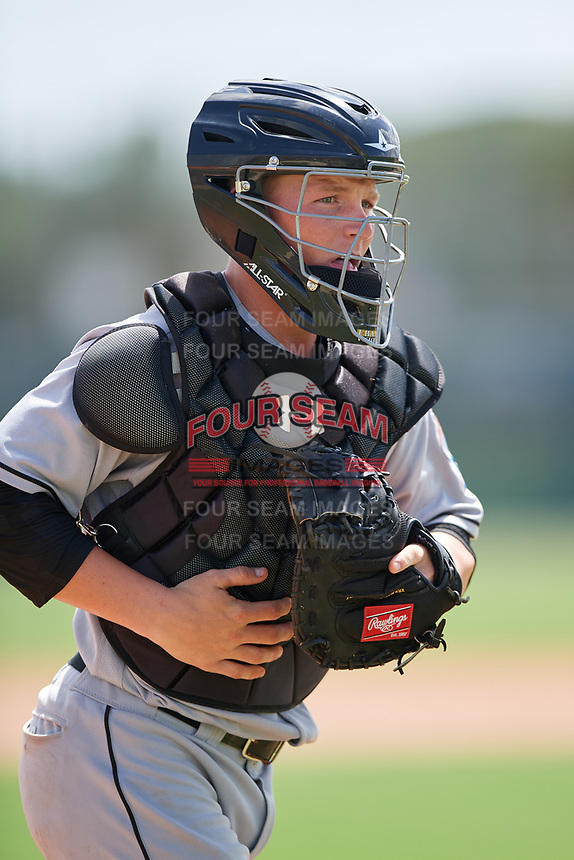 GCL Marlins catcher Jared Barnes (20) during the first game of a doubleheader against the GCL Nationals on July 23, 2017 at Roger Dean Stadium Complex in Jupiter, Florida.  GCL Nationals defeated the GCL Marlins 4-0.  (Mike Janes/Four Seam Images)