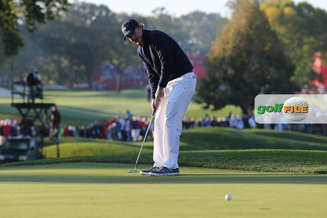 Brandt Snedeker (Team USA) putting on the second during the Saturday Morning Foursomes, at the 41st Ryder Cup 2016, at Hazeltine National Golf Club, Minnesota, USA.  01View of the 10th2016. Picture: David Lloyd   Golffile.