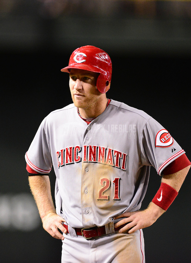 Aug. 28, 2012; Phoenix, AZ, USA: Cincinnati Reds first baseman Todd Frazier against the Arizona Diamondbacks at Chase Field. Mandatory Credit: Mark J. Rebilas-