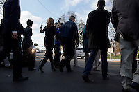 Gail Huff, wife of Senator Scott Brown (R-MA) walks with Scott Brown and the press to the campaign bus in Milford, Massachusetts, USA, on Thurs., Nov. 2, 2012. Senator Scott Brown is seeking re-election to the Senate.  His opponent is Elizabeth Warren, a democrat.