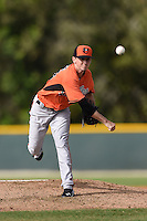 Pitcher Zachary Davies (48) of the Baltimore Orioles organization during a minor league spring training camp day game on March 23, 2014 at Buck O'Neil Complex in Sarasota, Florida.  (Mike Janes/Four Seam Images)