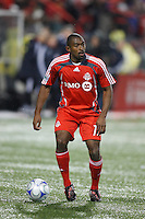 Toronto FC defender Marvell Wynne (16). Toronto FC and the New York Red Bulls played to a 1-1 tie during a Major League Soccer match at BMO Field in Toronto, Ontario, Canada, on May 1, 2008.