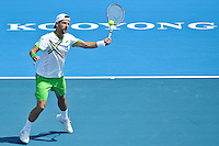 MELBOURNE, 14 JANUARY - Jurgen Melzer (AUT) hits a forehand in a match against Jo-Wilfried Tsonga (FRA) on day three of the 2011 AAMI Classic at Kooyong Tennis Club in Melbourne, Australia. (Photo Sydney Low / syd-low.com)