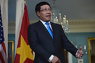 Washington, DC - March 30, 2016: Vietnamese Deputy Prime Minister and Foreign Minister Pham Binh Minh meets with U.S. Secretary of State John Kerry meets in the Treaty Room at the Department of State in the District of Columbia, March 30, 2016, one day ahead of the Nuclear Summit at the Washington Convention Center (Photo by Don Baxter/Media Images International)