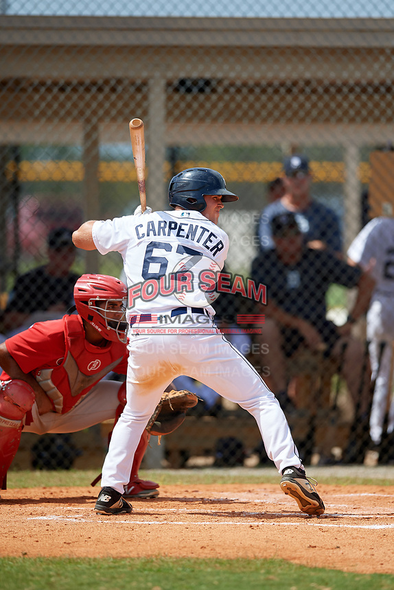 Detroit Tigers Kerry Carpenter (67) at bat during an Instructional League game against the Philadelphia Phillies on September 19, 2019 at Tigertown in Lakeland, Florida.  Catching is Freddy Francisco.  (Mike Janes/Four Seam Images)