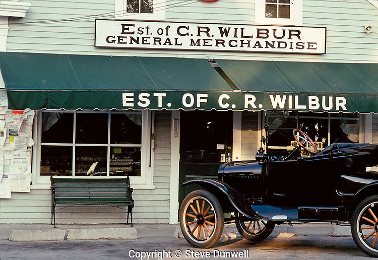 Wilbur general store with antique car, Little Compton, RI