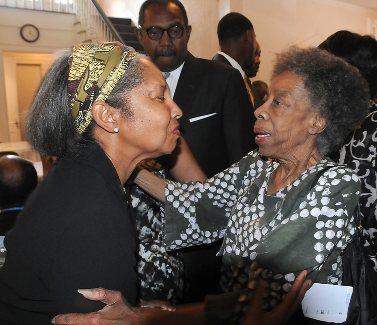 The widow of Rev. Richard Boone, greeteed by Gwen Patton, during the Repast and Fellowship hour that followed the funeral Service for, Norman F. Lumpkin Jr, held at the Metropolitan United Methodist Church, in Montgomery, AL, on Tuesday, May 13, 2014. Photo by Jim Peppler. Copyright Jim Peppler 2014, All rights Reserved.