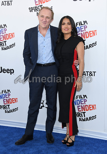 03 March 2018 - Santa Monica, California - Francois-Henri Pinault, Salma Hayek Pinault. 2018 Film Independent Spirit Awards -Arrivals, held at the Santa Monica Pier. Photo Credit: Birdie Thompson/AdMedia