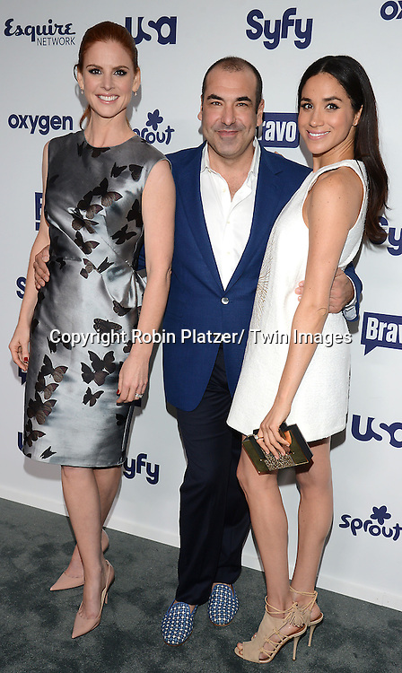 Sarah Rafferty, Rick Hoffman and Meghan Markle attend the NBCUniversal Cable Entertainment Upfront <br /> on May 15, 2014 at The Javits Center North Hall in New York City, New York, USA.