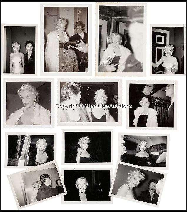 BNPS.co.uk (01202 558833)<br /> Pic: HeritageAuctions/BNPS<br /> <br /> A rare group of black and white images of Marilyn Monroe.<br /> <br /> A trove of rare and never-seen-before snapshots of Hollywood legend Marilyn Monroe have emerged for sale from the collection of a superfan who spent years following the star.<br /> <br /> The collection of 183 pictures of the pin up were all taken around New York in the mid-1950s by superfan James Collins, a teenager who was a member of the 'Monroe 6'.<br /> <br /> The youngsters were such avid fans Monroe ended up knowing them all by name and allowed them special access to her to take countless photos and signed numerous autographs.<br /> <br /> Collins is now auctioning the 183 photos in 18 lots through Heritage Auctions in Dallas, Texas.