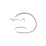 Beautiful artistic design of a cute sleeping kitty cat, ink painting artwork illustration gray on white background.